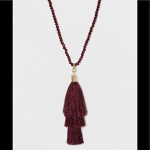 """36"""" maroon beaded tassel necklace - a new day NWT"""